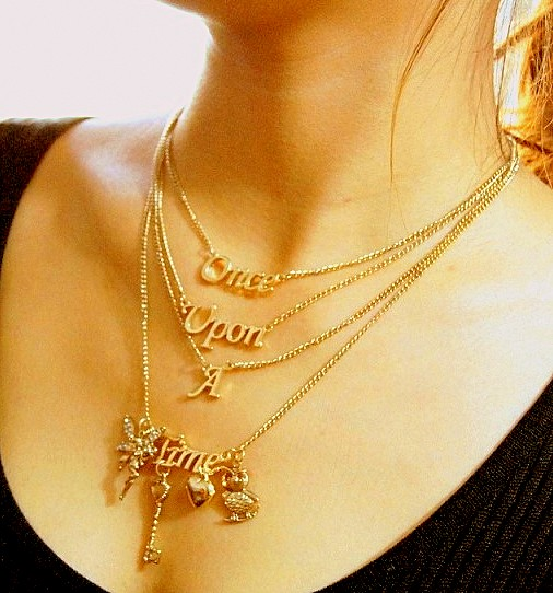 1-Piece-European-4-multilayer-Golden-color-necklace-once-upon-A-Time-letter-necklace-fashion-show