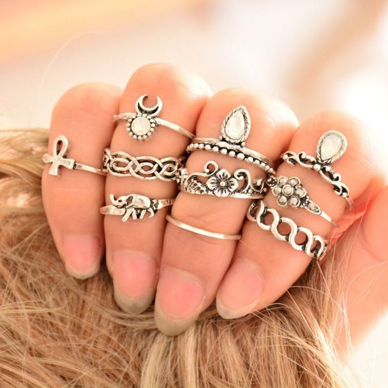 100-pieces-lot-Crystal-Knuckle-font-b-Rings-b-font-Set-Antique-Silver-font-b-Gold